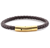 Dark Brown Leather Bracelet | 0,20'' | Gold