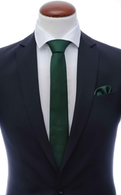Dark green skinny silk tie 6 cm and handkerchief