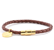Leather Bracelet 0,16'' | Tan | Gold
