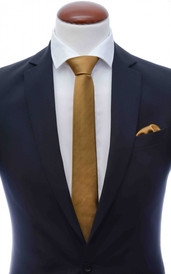 Bronze skinny silk tie 6 cm and handkerchief