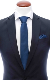 Navy skinny silk tie 6 cm and handkerchief