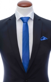 Blue skinny silk tie 6 cm and handkerchief