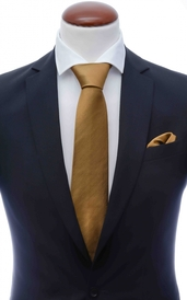 Bronze silk tie 8 cm and handkerchief