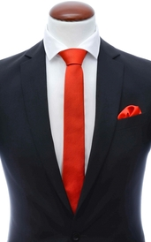 Light red skinny silk tie 6 cm and handkerchief