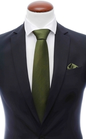 Olive green silk tie 8 cm and handkerchief