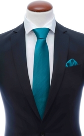 Teal silk tie 8 cm and handkerchief