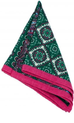 Wool Hanky Multicolor Green