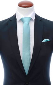 Mint blue skinny silk tie 6 cm and handkerchief