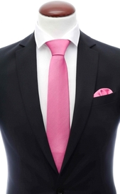 Dark pink silk tie 8 cm and handkerchief