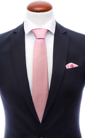 Light pink silk tie 8 cm and handkerchief