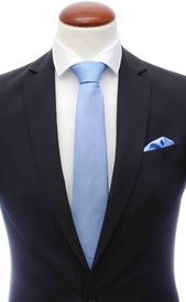 Light blue silk tie 8 cm and handkerchief