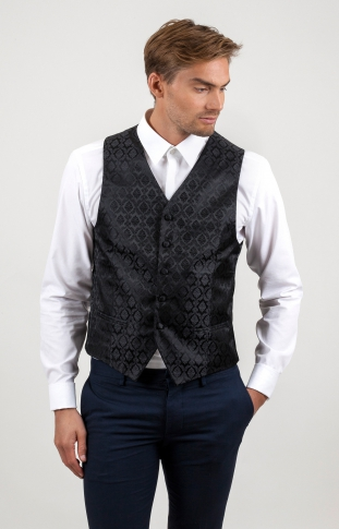 Damask Wedding Waistcoat Black