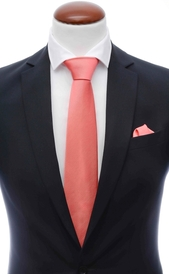 Light coral silk tie 8 cm and handkerchief