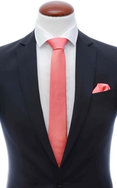 Light coral skinny silk tie 6 cm and handkerchief