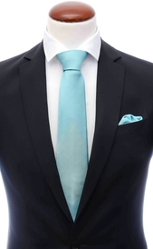 Mint blue silk tie 8 cm and handkerchief