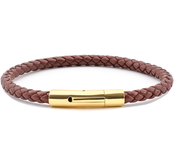 Brown Leather Bracelet | 0,20'' | Gold