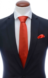 Light red silk tie 8 cm and handkerchief