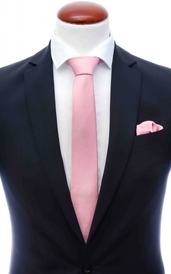 Light pink skinny silk tie 6 cm and handkerchief