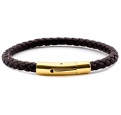 Black Leather Bracelet | 0,20'' | Gold
