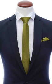 Lime green skinny silk tie 6 cm and handkerchief