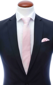 Extra light pink skinny silk tie 6 cm and handkerchief
