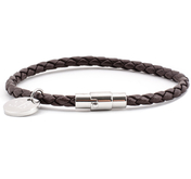 Leather Bracelet 0,16'' | Dark Brown | Silver