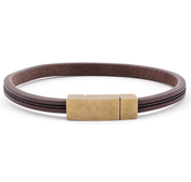 Dark Brown Leather Bracelet 0,20'' | Classic | Brushed Gold
