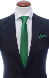 Green skinny silk tie 6 cm and handkerchief