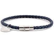 Leather Bracelet 0,16'' | Navy | Silver
