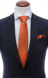 Rust orange silk tie 8 cm and handkerchief