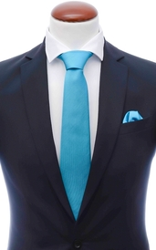 Turquoise silk tie 8 cm and handkerchief