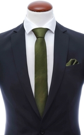 Olive green skinny silk tie 6 cm and handkerchief