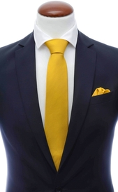 Mustard yellow silk tie 8 cm and handkerchief