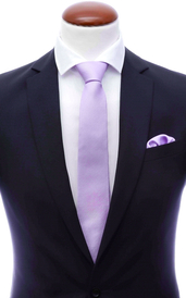 Light purple skinny silk tie 6 cm and handkerchief