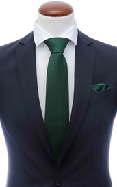 Dark green silk tie 8 cm and handkerchief