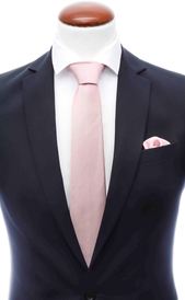 Extra light pink silk tie 8 cm and handkerchief