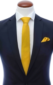 Mustard yellow skinny silk tie 6 cm and handkerchief