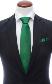 Green silk tie 8 cm and handkerchief