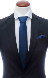 Navy silk tie 8 cm and handkerchief