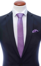 Purple skinny silk tie 6 cm and handkerchief