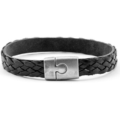 Black Leather Bracelet | 0,35'' | Brushed Silver