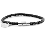 Leather Bracelet 0,16'' | Black | Silver