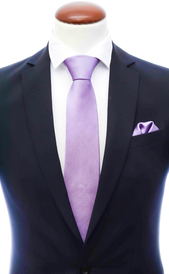 Light purple silk tie 8 cm and handkerchief