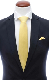 Light yellow silk tie 8 cm and handkerchief