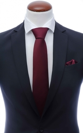 Dark burgundy silk tie 8 cm and handkerchief