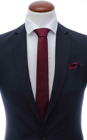 Dark Burgundy skinny silk tie 6 cm and handkerchief