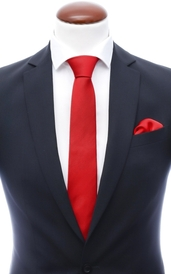 Red skinny silk tie 6 cm and handkerchief