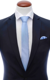 Light blue skinny silk tie 6 cm and handkerchief