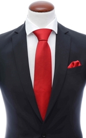 Red silk tie 8 cm and handkerchief