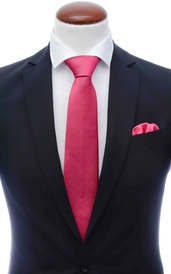 Dark coral silk tie 8 cm and handkerchief